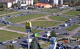 Камера онлайн Лодзь. Площадь Rondo Inwalidow (Польша)