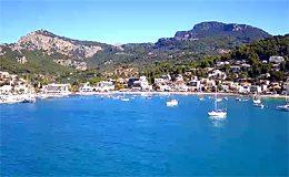 Веб камера Мальорка. Порт-де-Сольер, гавань (Испания) онлайн